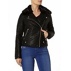 Dorothy Perkins - Black faux fur bonded biker jacket
