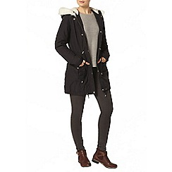 Dorothy Perkins - Navy faux leather trim parka