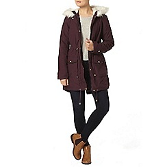 Dorothy Perkins - Raisin faux leather trim parka