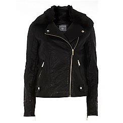 Dorothy Perkins - Tall faux fur bonded biker jacket
