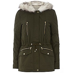 Dorothy Perkins - Tall green short cotton parka
