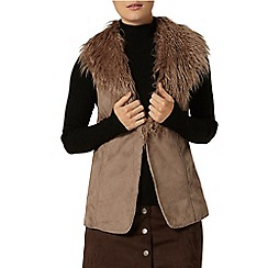 Dorothy Perkins - Taupe faux fur shearling gilet