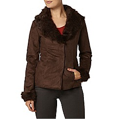 Dorothy Perkins - Chocolate faux shearling jacket