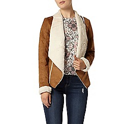 Dorothy Perkins - Tan waterfall shearling jacket