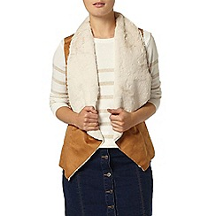 Dorothy Perkins - Tan waterfall shearling gillet jacket