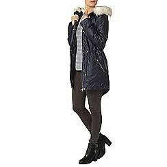 Dorothy Perkins - Navy shimmer luxe coated parka