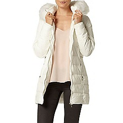Dorothy Perkins - White luxe faux fur puffa jacket