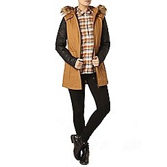 Dorothy Perkins - Tan faux leather sleeve parka