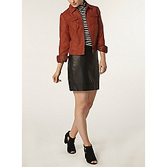Dorothy Perkins - Rust faux suede western jacket