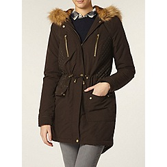 Dorothy Perkins - Tall faux leather panel parka