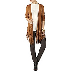 Dorothy Perkins - Tan suedette fringe throw on