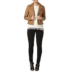 Dorothy Perkins - Tan faux leather biker jacket