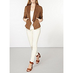 Dorothy Perkins - Tan suedette rib sleeve jacket