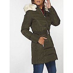 Dorothy Perkins - Khaki luxe belted padded coat