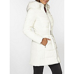 Dorothy Perkins - White luxe belted padded coat