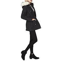 Dorothy Perkins - Charcoal twill zip hood parka coat