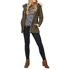 Dorothy Perkins - Khaki faux leather trim parka coat
