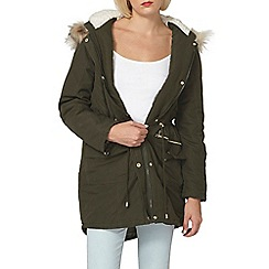 Dorothy Perkins - Khaki high shine trim parka
