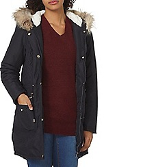 Dorothy Perkins - Navy high shine parka coat