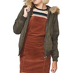 Dorothy Perkins - Khaki faux fur hood bomber jacket
