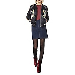 Dorothy Perkins - Black embroidered bird bomber jacket