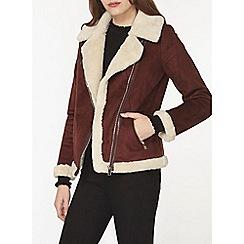 Dorothy Perkins - Burgundy faux shearling biker jacket