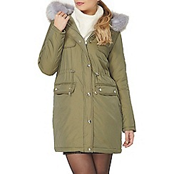 Dorothy Perkins - Lilac faux fur quilted parka
