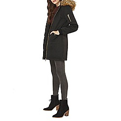 Dorothy Perkins - Luxe black and natural parka