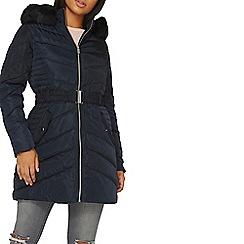 Dorothy Perkins - Navy blue belt padded jacket