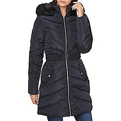 Dorothy Perkins - **tall navy luxe padded jacket with belt