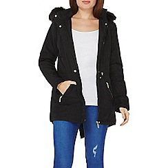 Dorothy Perkins - Black faux fur hood parka coat