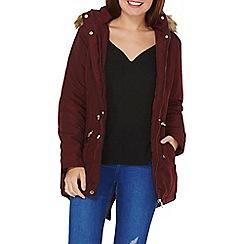 Dorothy Perkins - Burgundy faux fur hood parka coat