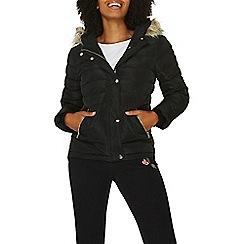 Dorothy Perkins - Black faux fur hood padded coat