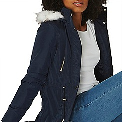 Dorothy Perkins - Navy parka with faux fur lined hood