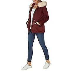 Dorothy Perkins - Burgundy hooded detachable fur parka coat
