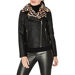 Dorothy Perkins - Black leopard print faux fur collar biker jacket