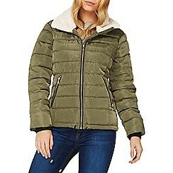 Dorothy Perkins - Khaki faux fur padded jacket