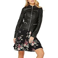 Dorothy Perkins - Black polyurethane collarless biker jacket