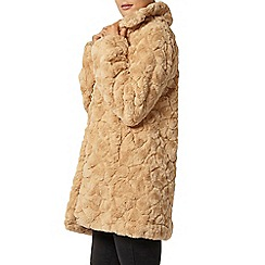 Dorothy Perkins - Caramel long line faux fur coat