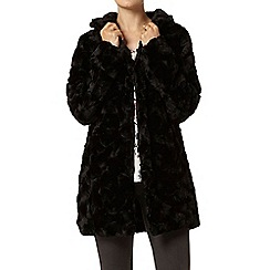 Dorothy Perkins - Black faux fur funnel coat