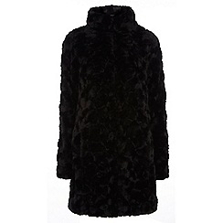 Dorothy Perkins - Tall black faux fur funnel coat