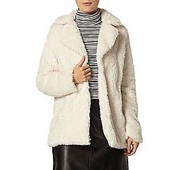 Dorothy Perkins - Cream teddy faux fur coat