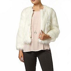 Dorothy Perkins - White short fluffy coat