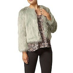 Dorothy Perkins - Mint short collarless fluffy jacket