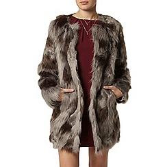 Dorothy Perkins - Grey camo collarless faux fur coat