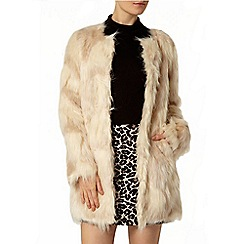 Dorothy Perkins - Cream camo faux fur coat