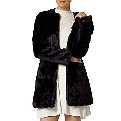 Dorothy Perkins - Navy collarless faux fur coat