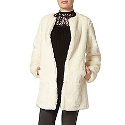 Dorothy Perkins - Ivory collarless faux fur coat