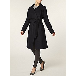 Dorothy Perkins - Navy belted wrap front coat