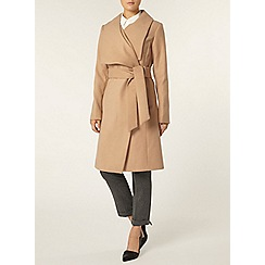Dorothy Perkins - Camel belted wrap front coat